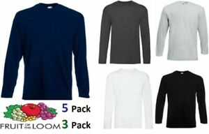 New-Mens-Fruit-of-the-Loom-Long-Sleeve-T-Shirt-Plain-Top-Pack-Of-3-5