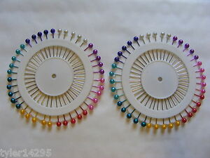 Sewing-Pins-80-Coloured-Pearlised-Wheel-Dress-Making-Sewing-Craft-Berry-Pin-Head