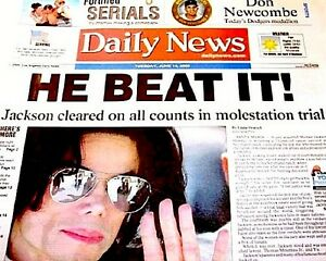 Michael-Jackson-Newspaper-LA-Daily-News-He-Beat-It-2005-MJ-Thriller-King-Of-Pop