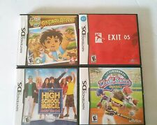4 NINTENDO DS DSi Kid Games - Go Diego Go, Little League Baseball, Exit DS, HSM