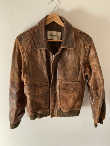 Vintage Mens Sz 42 Wilsons Brown LEATHER BOMBER AU
