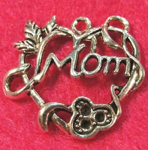 "5Pcs. Tibetan Silver Large ""MOM"" FLORAL HEART Charms Pendants Findings PR290"