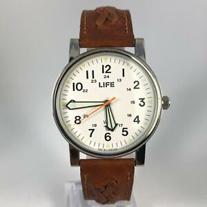 Life-Mens-Brown-Leather-Braided-Band-Japan-Movement-Quartz-Analog-Wristwatch