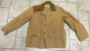 906ab6862535e VTG Canvas Hunting Jacket Duck Brown Hunt King Corduroy Collar Small ...