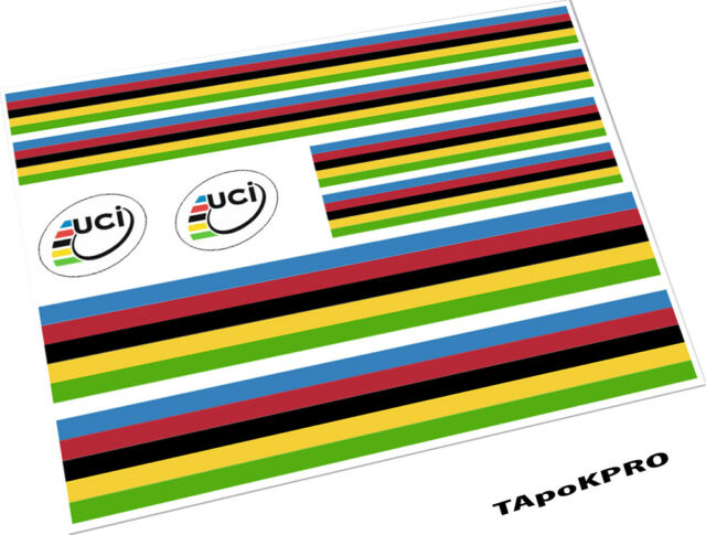 Road Bike Cycle WORLD CHAMPIONSHIP COLOUR stripes Frame Decals Stickers
