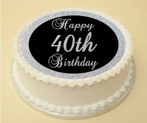 Fantastic 40Th Black Silver Birthday Edible Cake Cupcake Topper Wafer Personalised Birthday Cards Epsylily Jamesorg