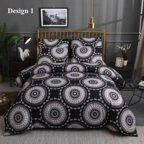 Bohemian Ethnic Mandala Circles Elephant Bedding Duvet Cover Set+Pillow Case
