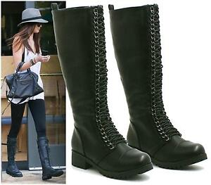 WOMENS-LADIES-COMBAT-ARMY-MILITARY-LACE-UP-LOW-HEEL-KNEE-HIGH-BOOTS-SHOES-SIZE
