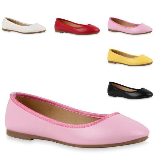 Klassische Damen Ballerinas Lederimitat Flats Casual Look 79198 Trendy Neu