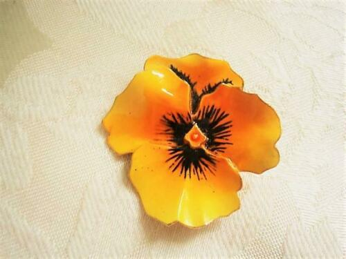Vintage Yellow and Black Enamel Pansy Flower Pin … - image 1