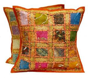 2-Orange-Embroidery-Sequin-Patchwork-Sari-USA-Pillow-Cushion-Covers-AICC1003
