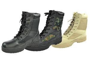 Das Bild wird geladen Outdoor-Boots-Springerstiefel-schwarz-beige-US-Army- Stiefel- e37fcac7bb