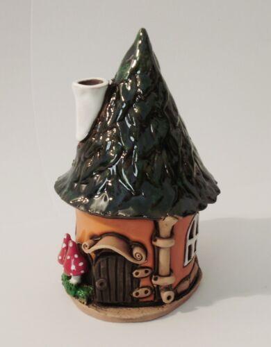 Räucherhaus Lichthaus Keramik Dekoration Haus orange Handarbeit