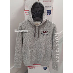 Details about HOLLISTER MENS LOGO GRAPHIC FULL ZIP HOODIE SWEATSHIRTS HEATHER GREY SIZE LARGE