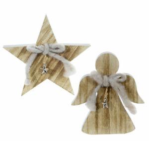 Stern Engel Holz Weihnachtsdekoration mit Anhänger Tischdekoration Adventsdeko