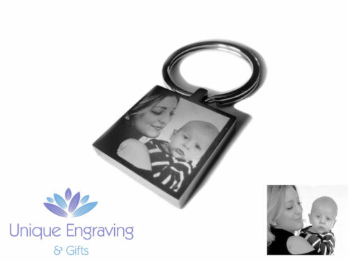 Great Christmas Gift! Keyring Personalised Photo Engraved Square Keychain