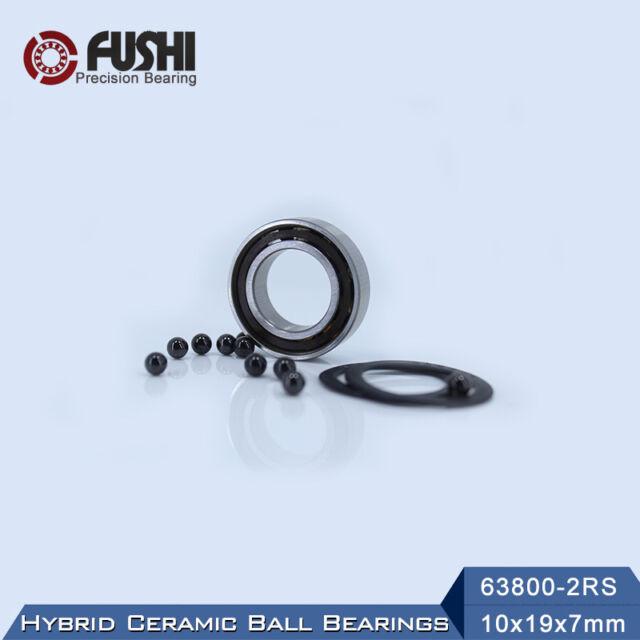 QTY 10 10x19x7mm 63800-2RS HYBRID CERAMIC Si3N4 Ball Bearing Bearings 63800RS