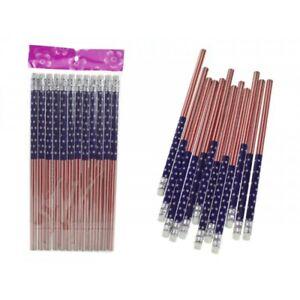 12 Crayons à Papier USA HB + Gomme Classique Moyen Fourniture Scolaire Etudiant
