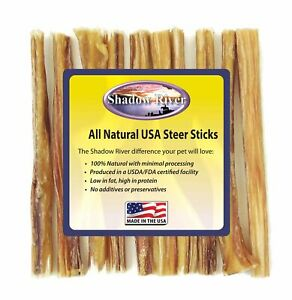 Shadow River 6 Inch THIN Premium USA Beef STEER Bully Sticks Dog Chew Treats