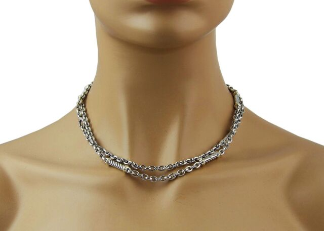 DAVID YURMAN STERLING SILVER 18K GOLD METRO CURB LONG CHAIN NECKLACE NEW BOX 11N