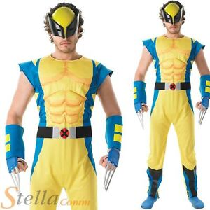 Image is loading Mens-Deluxe-Wolverine-Costume-X-Men-Superhero-Fancy-  sc 1 st  eBay & Mens Deluxe Wolverine Costume X-Men Superhero Fancy Dress Adult ...