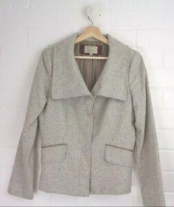 VERONIKA-MAINE-Light-Grey-Flecked-Classic-Blazer-Jacket-Size-10