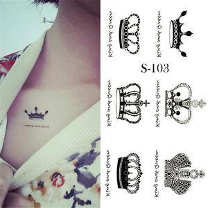 Einmal Tattoo Haut Körper Schmuck Krone Schwarz Qs 009 Ebay