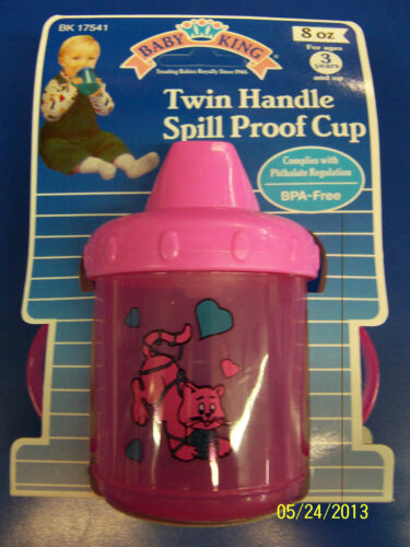 Twin Handle Spill Proof Plastic Sippy Cup Baby Shower Party Gift Pink Kitty Cat