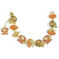 Nfl Football San Francisco 49ers Nfc Gold Charm Bracelet on sale