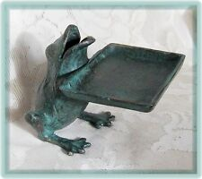 Cast Iron FROG  Business Card Holder Desk Store Counter Verdigris Green