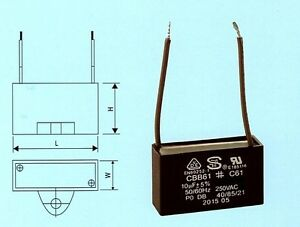 CEILING FAN CAPACITOR 10UF 250V AC 2 WIRE CBB61