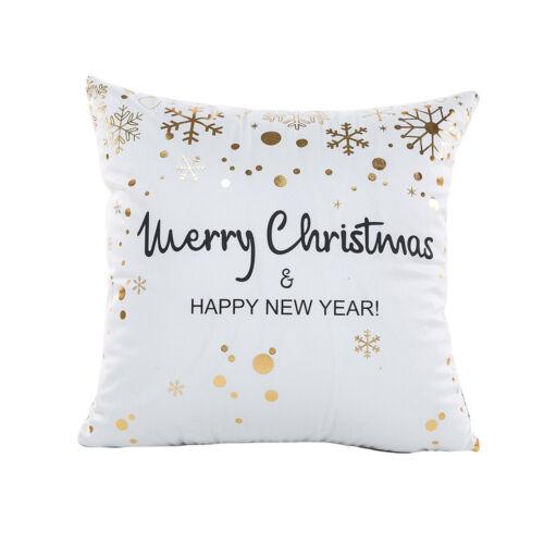 Joyeux Noël Feuille D/'Or Style taie d/'oreiller taille BACK HOME Throw Cushion Cover