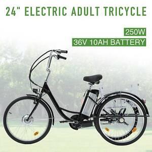 "Three-Wheeled Bicycle 24"" 250W f36V 10AH Lithium Battery w/Basket"