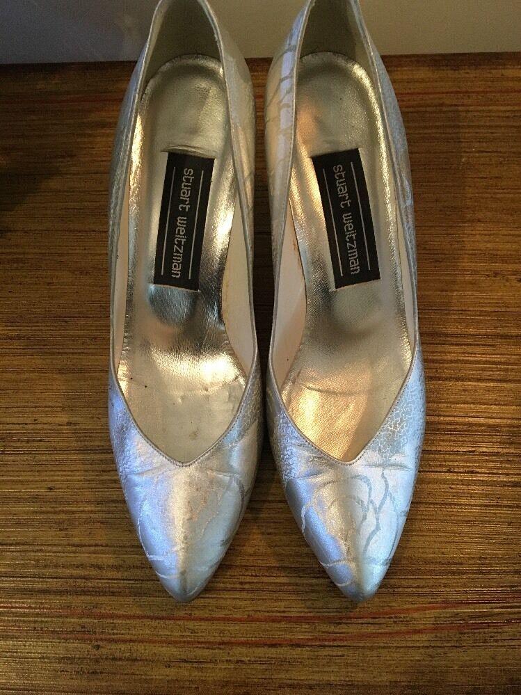 Stuart Weitzman Metallic Silver Embossed  7 High Heels Beautiful Größe 7  1/2 M EUC 540a50