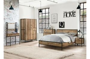 7c87038fd2c7e Industrial Chic 5ft King Size Rustic Bed Frame Wood Metal With ...