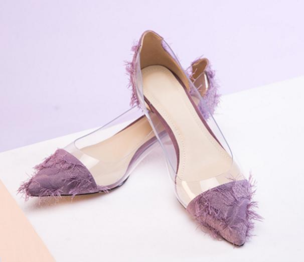 prezzo più economico donna Splice Clear PVC Pointed Pointed Pointed Toe Pumps Slip On Kitten Heel Classics Court Shoe  godendo i tuoi acquisti