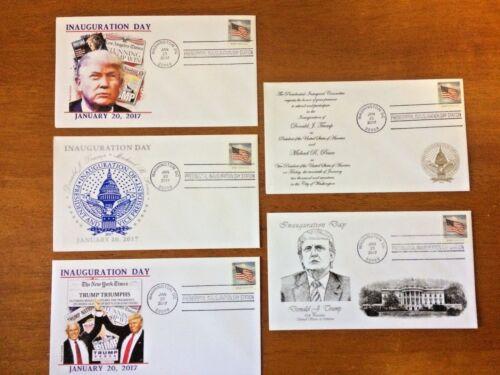 5 TRUMP INAUGURATION First Day Covers Washington D.C 1//20//17 Inaugural Postmark