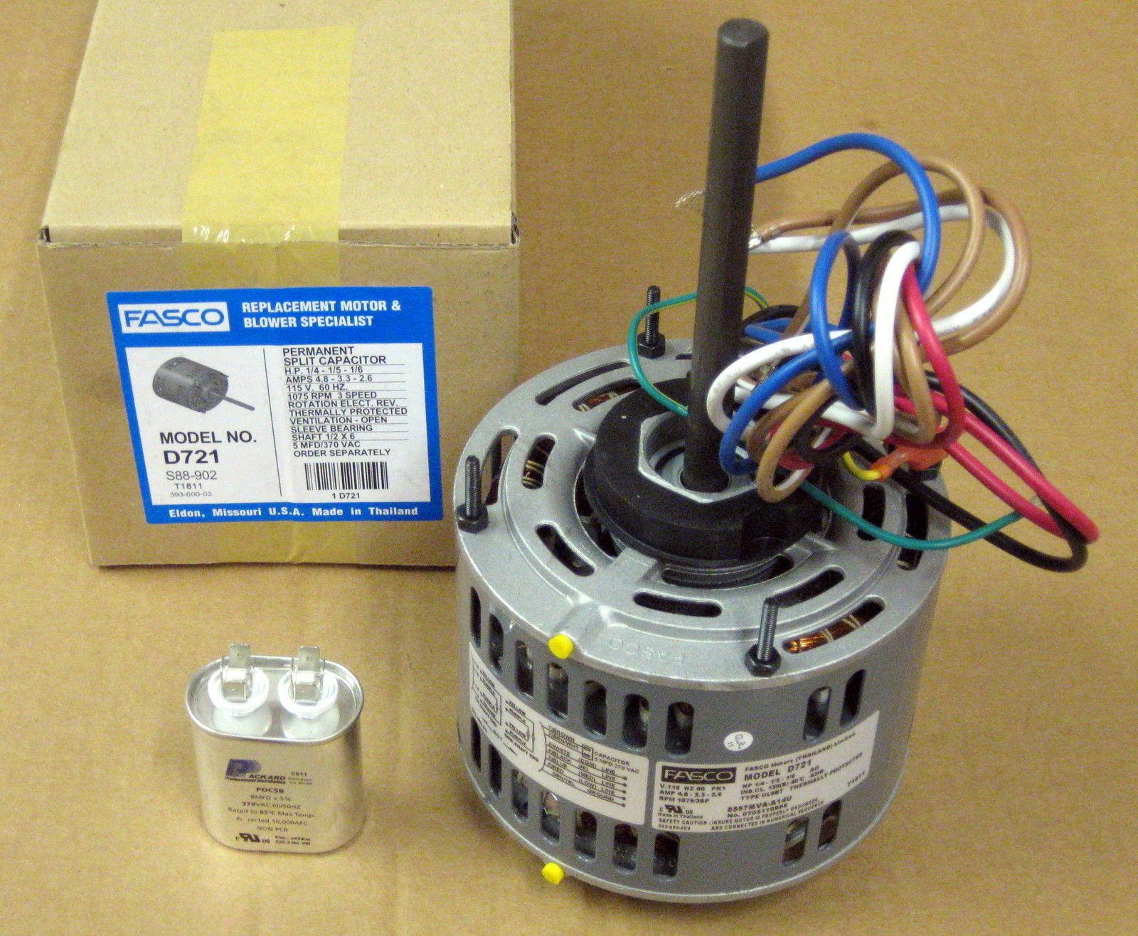 D721-5 Fasco 1/4 Hp 1075 115 v 3 Speed Furnace Blower Fan Motor w/  Capacitor for sale onlineeBay