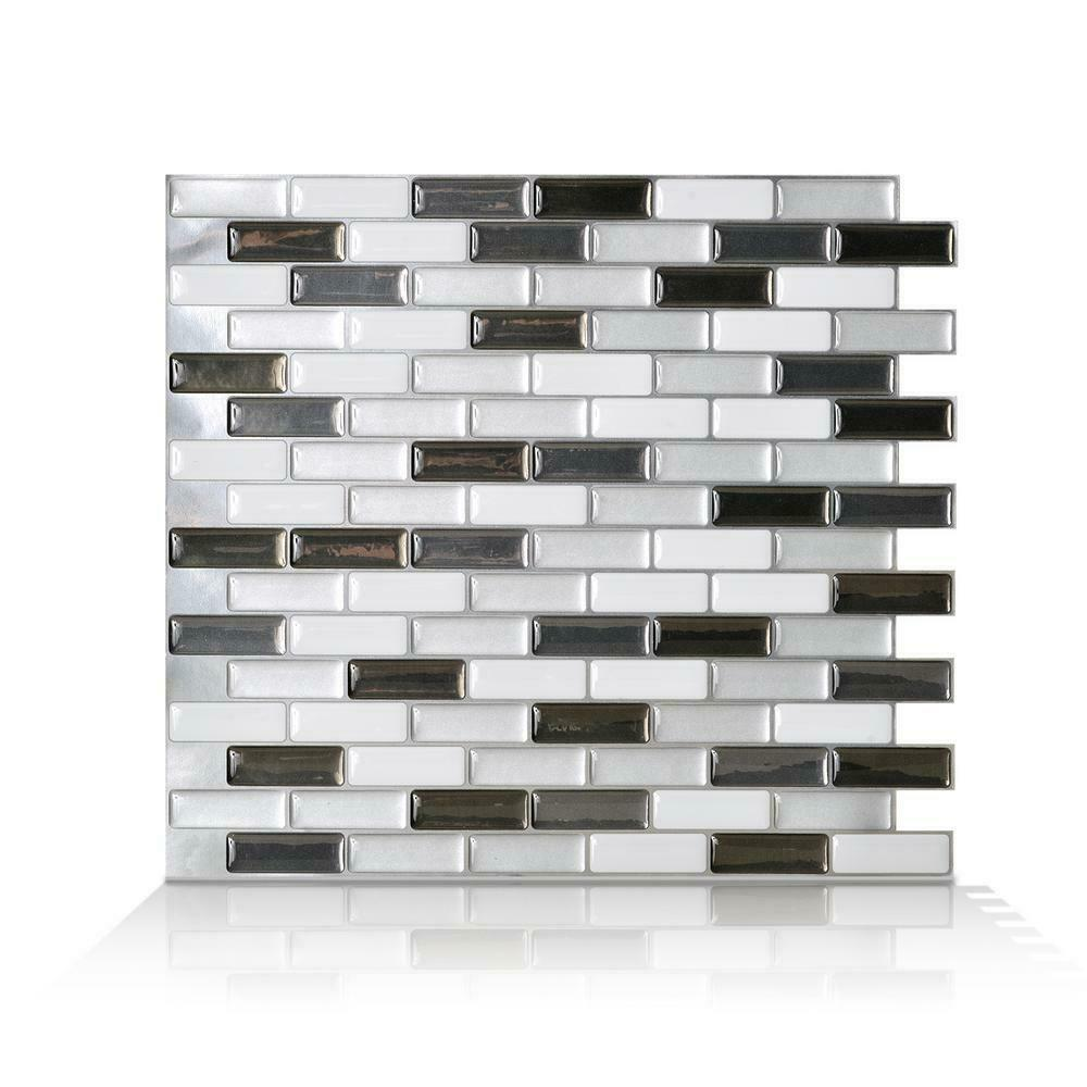 - Smart Tiles Wall Tile Backsplash Black Grey White Decorative 9.1