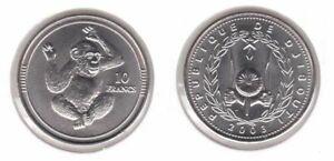 DJIBOUTI-RARE-10-FRANCS-UNC-COIN-2003-YEAR-KM-34-MONKEY