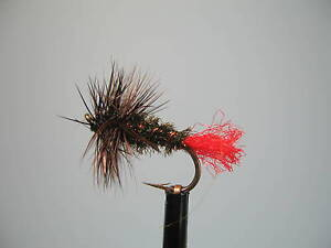 3 X RED TAG DRY TROUT FLIES  size 12 14 16 available