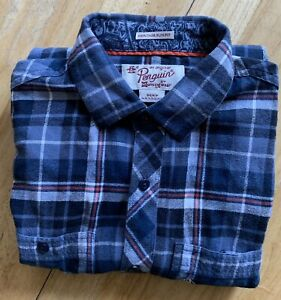 Penquin-Men-s-Blue-Plaid-Heritage-Slim-Fit-Small-Long-Sleeve-Button-Front
