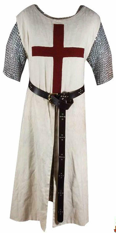 MEDIEVAL MAROON TEMPLAR Tunic Surcoat & Cloak Crusader Sleeveless Renaissance LA