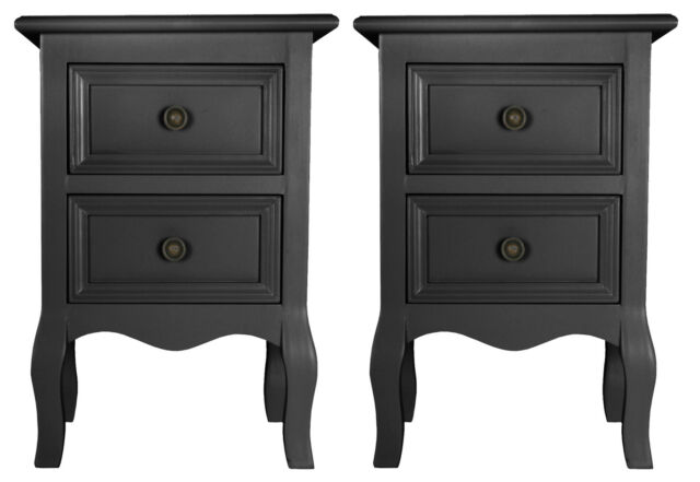 Set of Two Small 2 Drawer BEDSIDE TABLE cabinets in BLACK shabby / chic