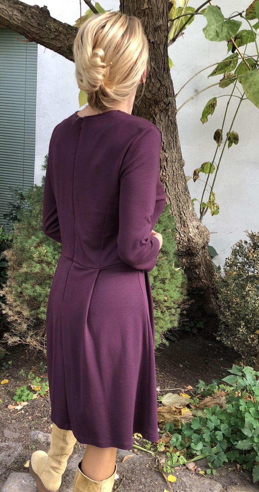 French Connection Classic Kleid Gr UK12 aubergine lila knielang Viscose