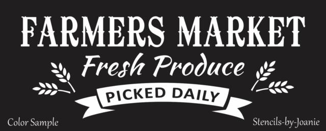 Joanie Farmers Market Stencil Fresh Produce Picked Daily Banner Organic Wheat