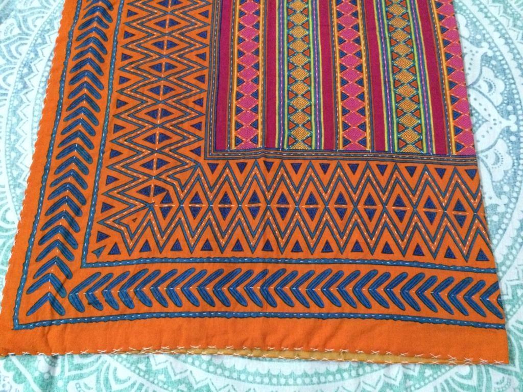 Indian Handmade Quilt orange Kantha Bedspread Throw Cotton Blanket Gudari Twin