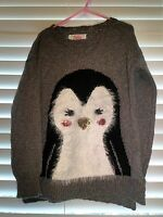 Justice Penguin Pullover Light Sweater Girls Clothes Size 7 8 10 12 14