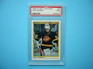 1990-91-O-PEE-CHEE-PREMIER-NHL-HOCKEY-CARD-34-TROY-GAMBLE-ROOKIE-PSA-9-MINT-OPC