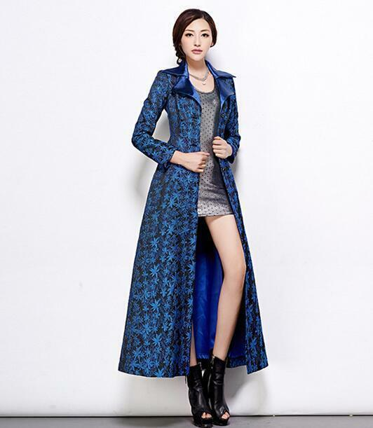 Elegant Womens Trench Coat Floral Lace Lapel Belt Maxi Full Length Slim Overcoat